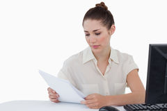 Businesswoman looking a document Stock Image