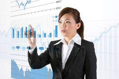 Businesswoman looking at a finance chart Royalty Free Stock Photo