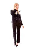Businesswoman looking through finger's hole Royalty Free Stock Images