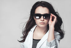Businesswoman looking through glasses Royalty Free Stock Photo