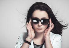 Businesswoman looking through glasses Royalty Free Stock Photography