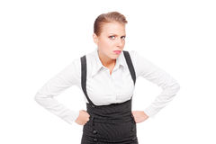 Businesswoman looking with mistrust Stock Photo