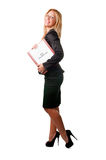 Businesswoman looking for a new job. Young businesswoman with a notepad and a curriculum vitae in her arms, looking for a job Stock Images