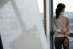 Businesswoman looking through office window near whiteboard, rear view, focus on background Stock Photography