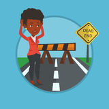 Businesswoman looking at road sign dead end. Royalty Free Stock Images