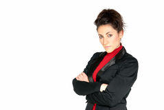 Businesswoman looking serious copyspace isolated Royalty Free Stock Images
