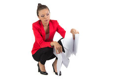 Businesswoman looking in sheets Royalty Free Stock Photography