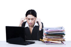 Businesswoman looking tired isolated Royalty Free Stock Photos