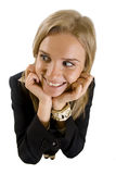 Businesswoman looking to a side. Dynamic view of serious businesswoman looking to a side Royalty Free Stock Photos