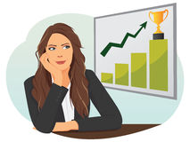 Businesswoman looking up on a chart bar Stock Photos