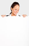 Businesswoman looking white board Stock Image