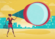 Businesswoman looks through her Telescope. Great illustration of Retro styled Businesswoman who's getting a really great view of the business landscape with her Royalty Free Stock Image