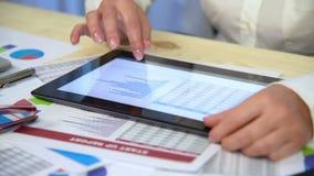 Businesswoman Looks At Stock Exchange Statistics stock footage