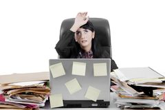 Businesswoman looks tired on studio Royalty Free Stock Photo