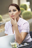 Businesswoman Lost In Thoughts Royalty Free Stock Image