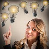 Businesswoman with lots of ideas royalty free stock photo