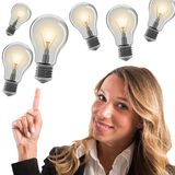 Businesswoman with lots of ideas Stock Photos