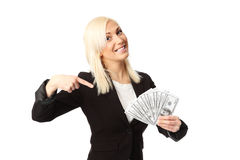 Businesswoman with lots of money Royalty Free Stock Photos