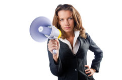 Businesswoman with loudspeaker. On white Royalty Free Stock Image