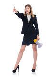 Businesswoman with loudspeaker Royalty Free Stock Image