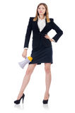 Businesswoman with loudspeaker Royalty Free Stock Photography