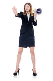 Businesswoman with loudspeaker Stock Photos