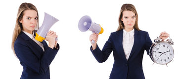 The businesswoman with loudspeaker isolated on white. Businesswoman with loudspeaker isolated on white Stock Photo