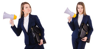 The businesswoman with loudspeaker isolated on white. Businesswoman with loudspeaker isolated on white Stock Photos