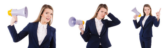 The businesswoman with loudspeaker isolated on white. Businesswoman with loudspeaker isolated on white Stock Images