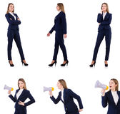 The businesswoman with loudspeaker isolated on white. Businesswoman with loudspeaker isolated on white Royalty Free Stock Photos
