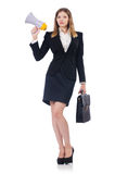 Businesswoman with loudspeaker Stock Image