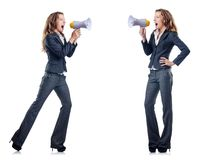 Businesswoman with loudspeaker on the white Royalty Free Stock Photography