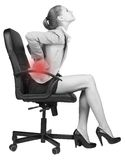 Businesswoman with lower back pain, sitting on Royalty Free Stock Photo