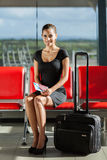 Businesswoman luggage airport Royalty Free Stock Images