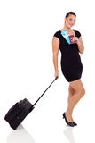 Businesswoman with luggage Stock Photo