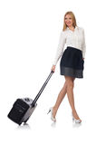 Businesswoman with luggage isolated Stock Photo