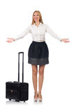 Businesswoman with luggage isolated Royalty Free Stock Image