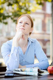 Businesswoman on Lunch Break Stock Photo