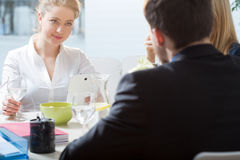 Businesswoman during lunch at work Stock Images