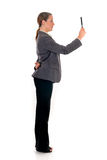 Businesswoman magnifying glass Stock Photo
