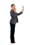 Businesswoman magnifying glass Stock Photography