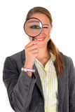 Businesswoman magnifying glass Royalty Free Stock Images
