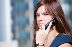 Businesswoman make call by mobile phone. Stock Photography