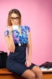 Businesswoman make a coffee rest Stock Photos