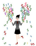 Businesswoman are make money, Vector cartoon concept Stock Images