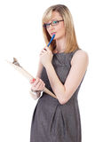 Businesswoman make notes using wooden clipboard Stock Images