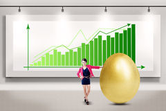 Businesswoman makes big profit Stock Images