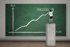 Businesswoman makes chart for success 1 Royalty Free Stock Image