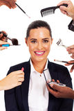 Businesswoman makeup tools Royalty Free Stock Images