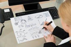 Businesswoman Making Analytics Diagram Stock Photos